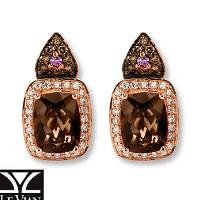 Le Vian Chocolate Quartz 1/3 ct tw Diamonds 14K Gold Earrings