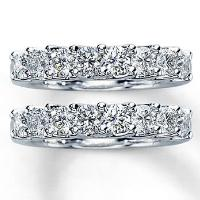 Diamond Wedding Bands  2 ct tw Round-cut  14K White Gold