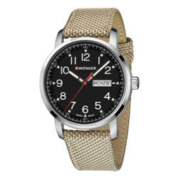 Wenger Men's Watch Strap Attitude Heritage Black Dial Beige Strap 01.1541.111