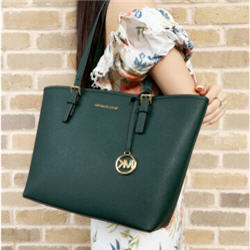 Michael Kors Jet Set Medium Carryall Tote Racing Green + Wallet