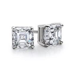 14k White Gold Asscher Cut White Sapphire 4 Ct Stud Earrings