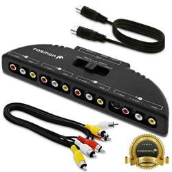 Fosmon 4 Port AV Composite RCA Selector Box Switch Splitter w/ Cable Cord Plug